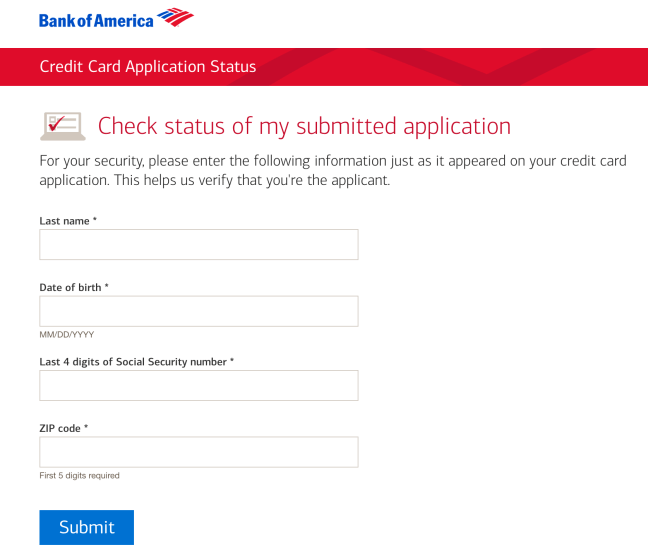 BOA application status form