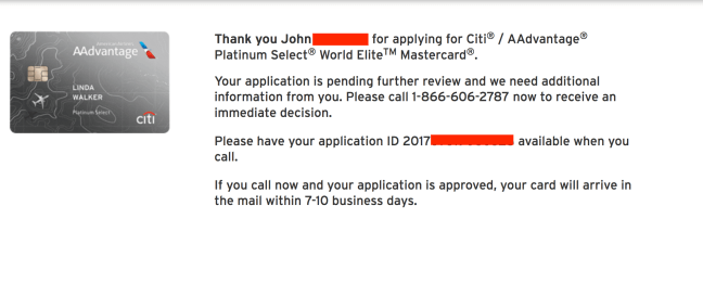 citibank credit card application status