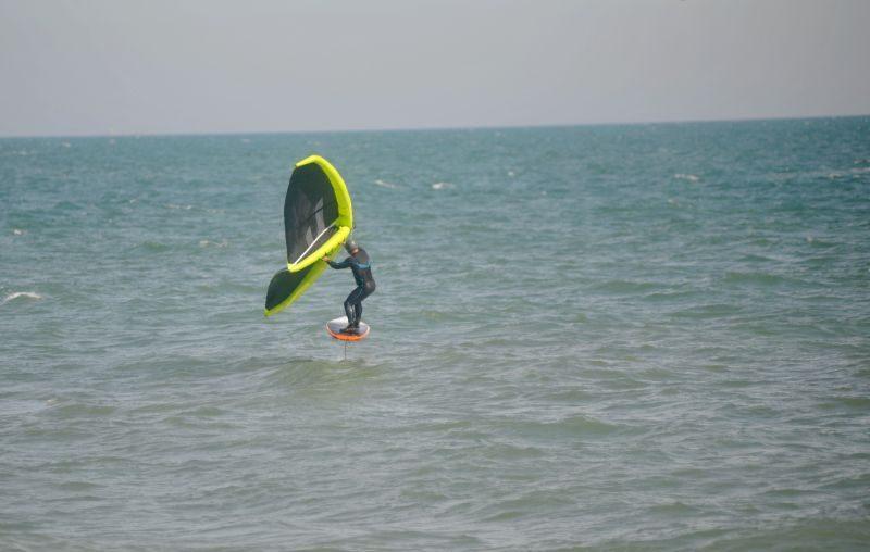 Matt on a wingsurf at Hythe