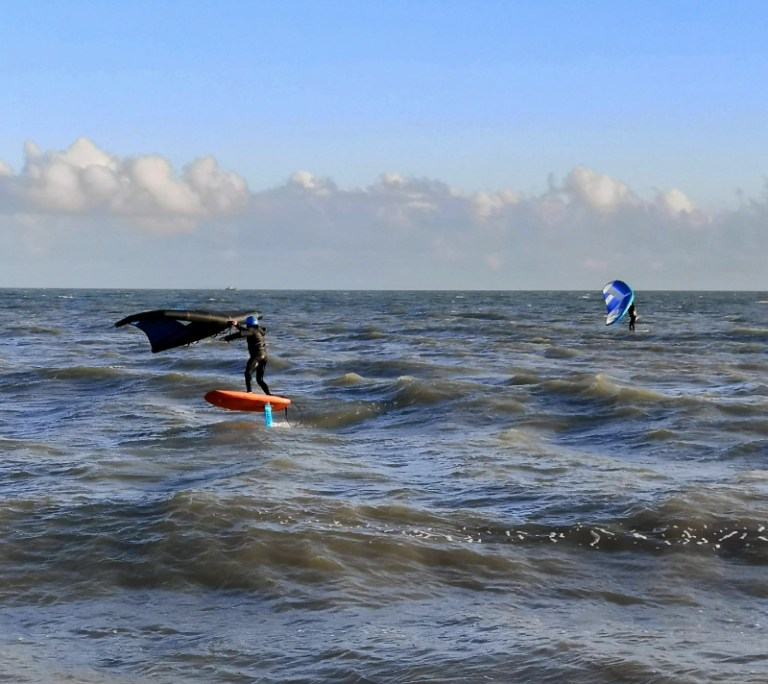 Wing foiling at Hythe