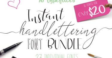 Instant Hand Lettering Bundle [26 Fonts + Extras] | The Fonts Master