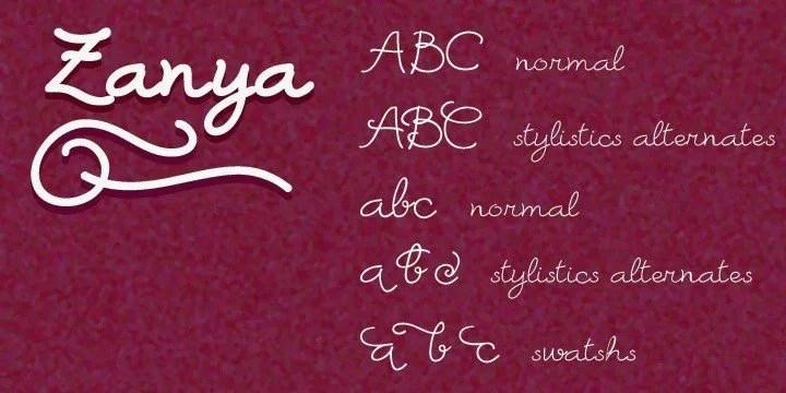 Zanya [5 Fonts]   The Fonts Master