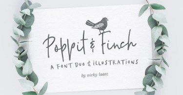 Poppit &Amp; Finch &Amp; Illustrations [2 Fonts + Extras] | The Fonts Master