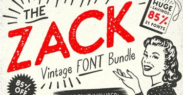 Zack Vintage Font Bundle [21 Fonts]
