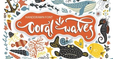 Coral Waves - Fonts And Clip Arts [2 Fonts &Amp; Extras] | The Fonts Master