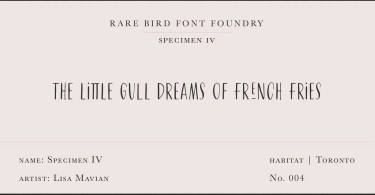 Rare Bird Specimen Iv Super Family [1 Font] | The Fonts Master