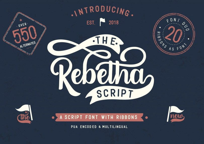 Rebetha Font Duo + Extras [3 Fonts &Amp; Extras] | The Fonts Master