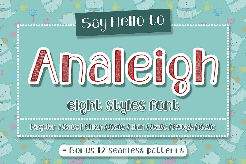Analeigh [8 Fonts + Extras] | The Fonts Master