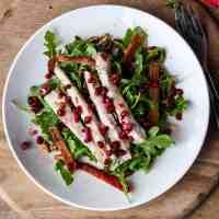 Turkey Pomegranate Salad on a white plate.