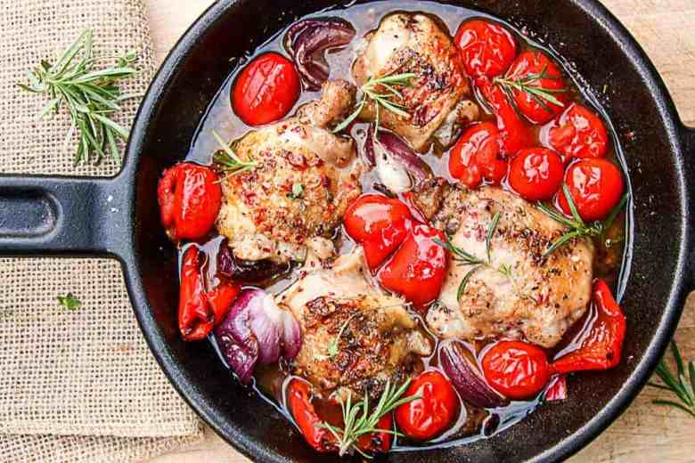 Grilled Chicken & Vegetables in Red Currant Sauce