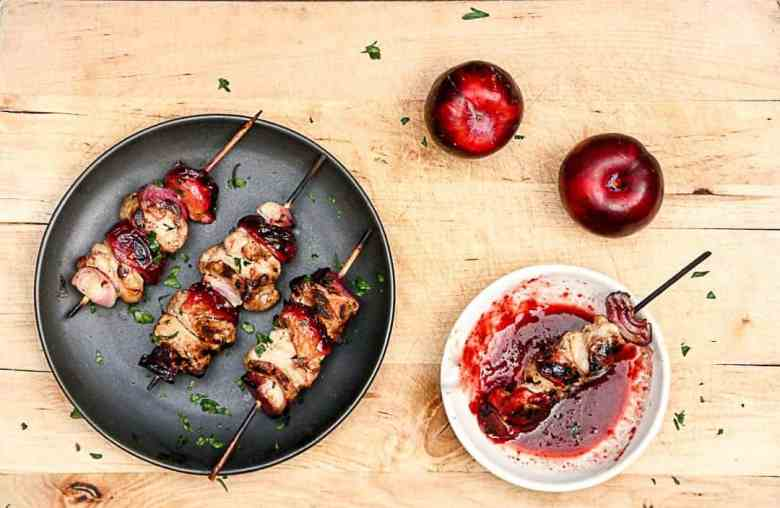 Grilled Plum and Pork Kebabs