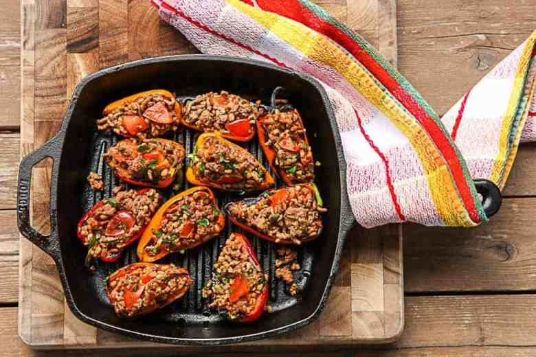 Spanish Stuffed Peppers with Farro and Salsa Verde