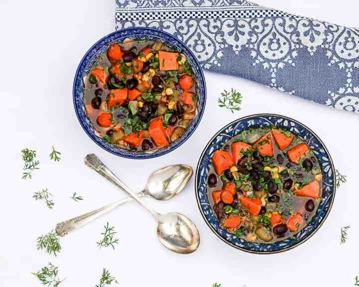 Sweet Potato Soup with Black Beans and Corn