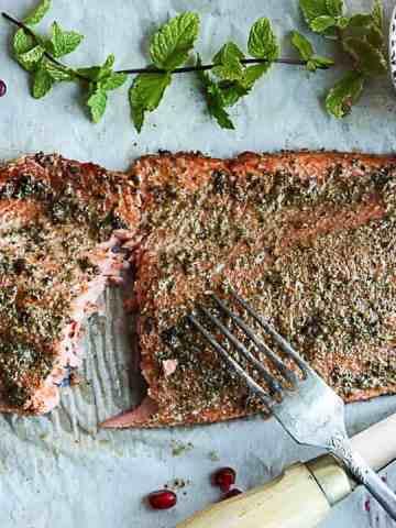 Spiced Baked Salmon with Pomegranate Raita