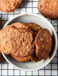 A bowl of oatmeal cookies