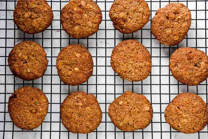 Oatmeal cookies cooling on a wire rack