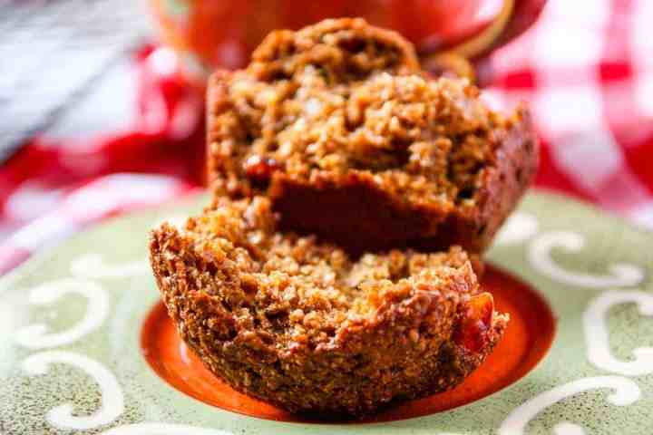 A close up of a muffin on a plate