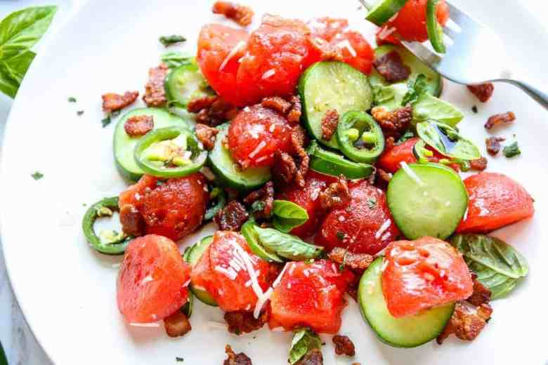 Watermelon Salad with Bacon and Jalapeno