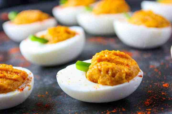 A close up of a deviled egg
