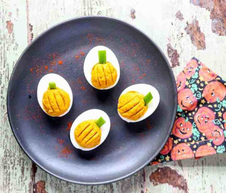 A plate of deviled eggs