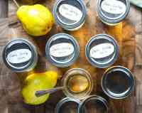 Jars of jelly, with pears