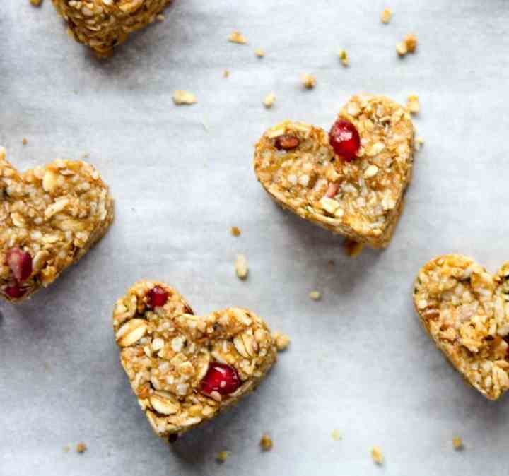 Heart shaped oatmeal energy bites with pomegranate arils