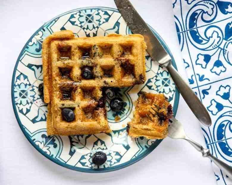 A waffle on a plate
