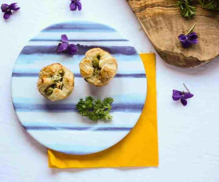 Puff pastry appetizers on a plate