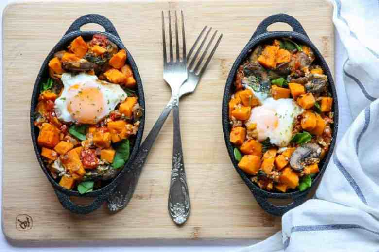 Sweet Potato Mushroom Breakfast Skillet