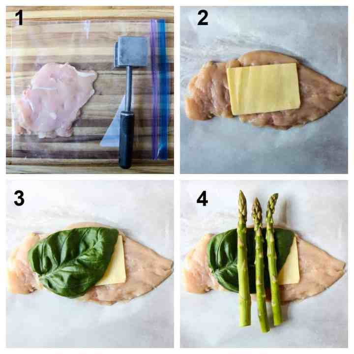The process of stuffing the chicken, step by step.