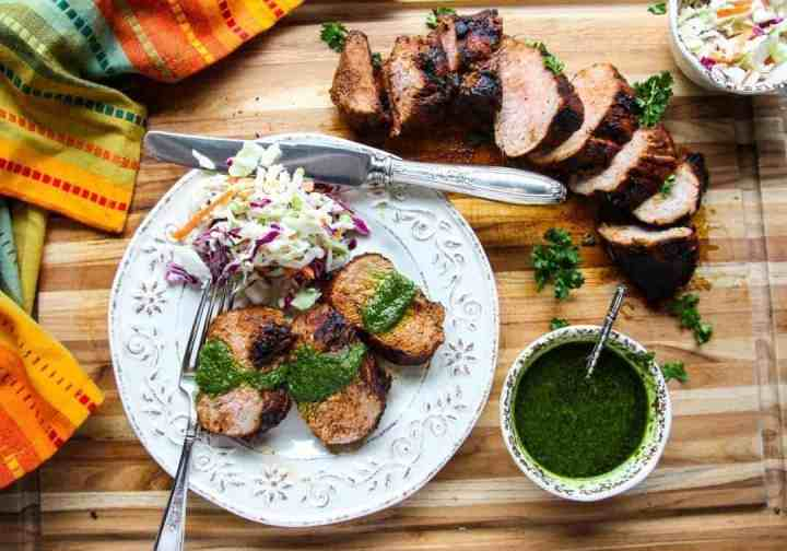 Grilled Pork Tenderloin with Chimichurri Sauce