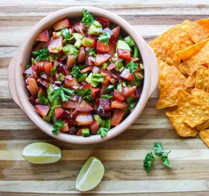 Plum Salsa with chips