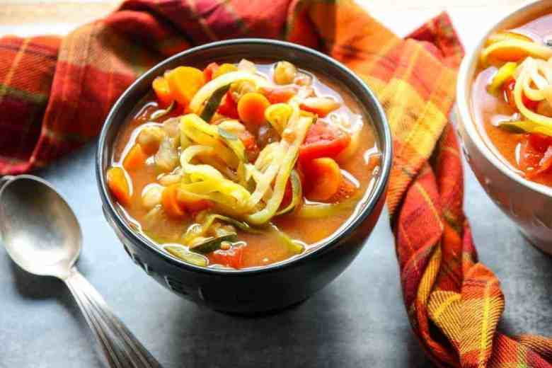 Vegetable Zoodle Soup in a bowl