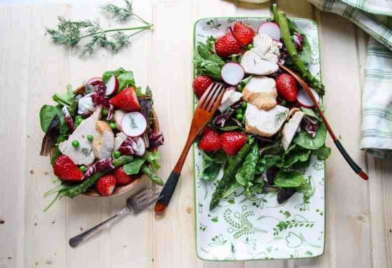 Fresh fruit and vegetables on a plate