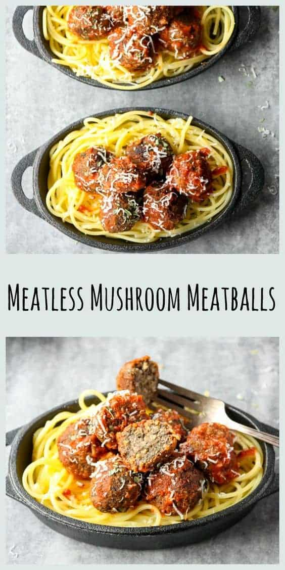 Three bowls of spaghetti noodles topped with meatless meatballs in black bowls with recipe title text overlay