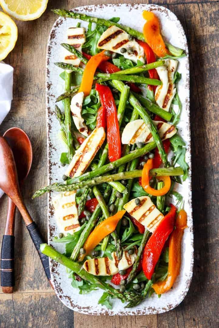 roasted vegetable salad on a platter