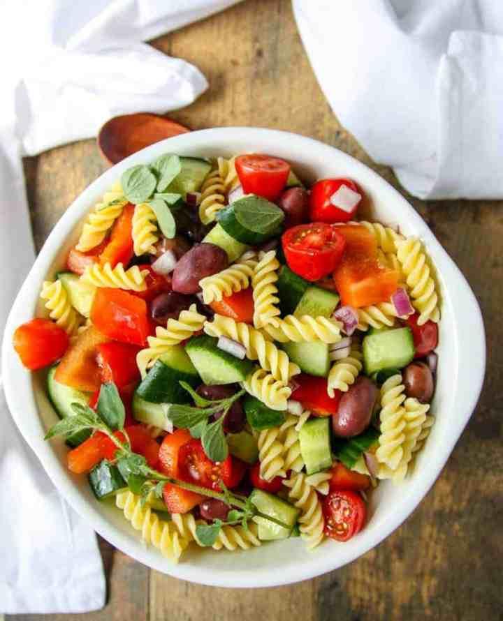 Greek Pasta Salad in a white bowl