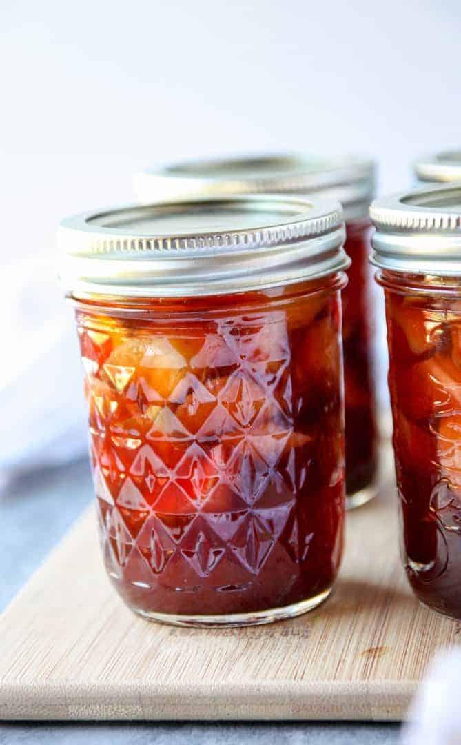 glass jar of rhubarb pickles