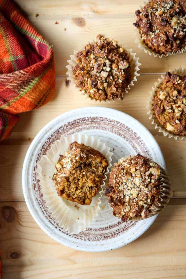 A Pumpkin muffins on a plate