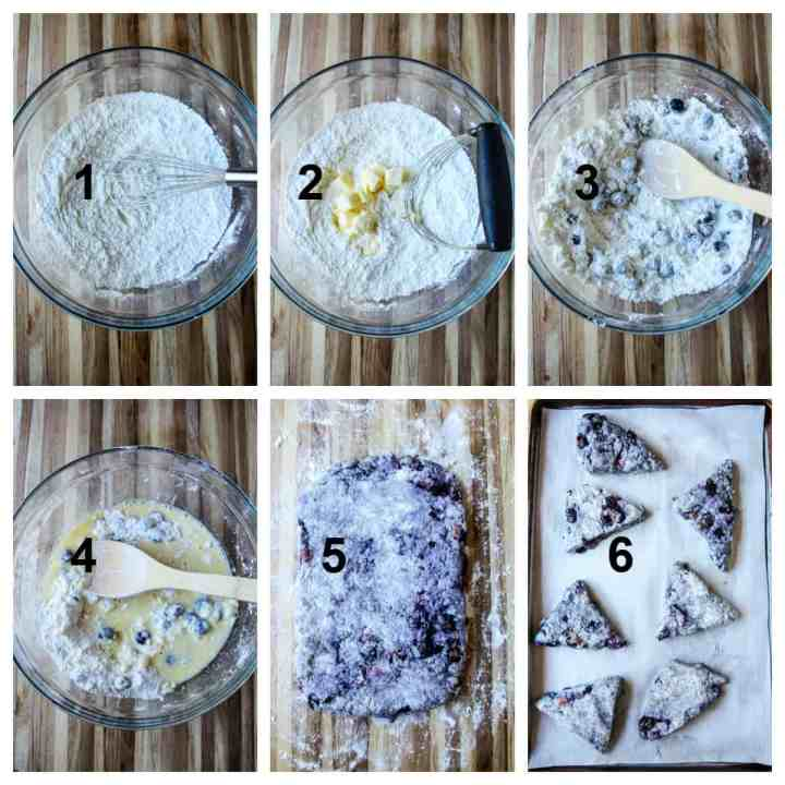 Making gluten-free blueberry scones step by step.