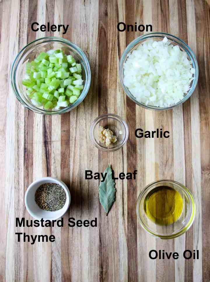 Some of the recipe ingredients on a wooden board.