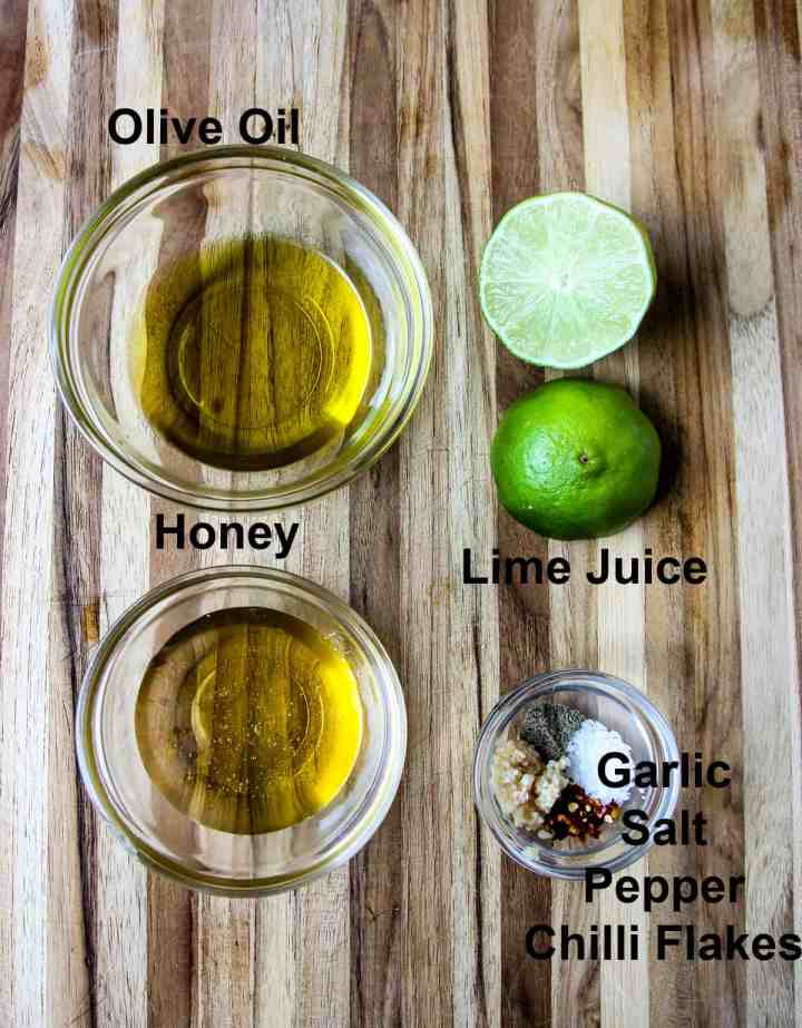 Ingredients for the honey lime salad dressing.