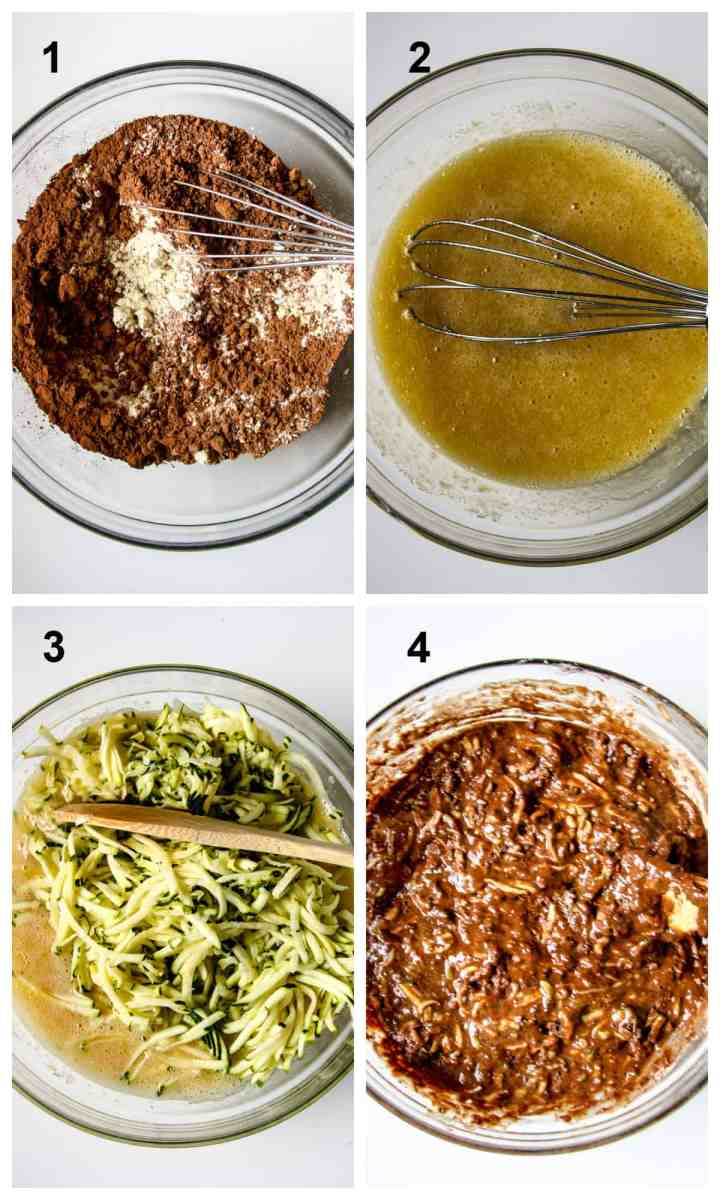 The first four steps for making the recipe.