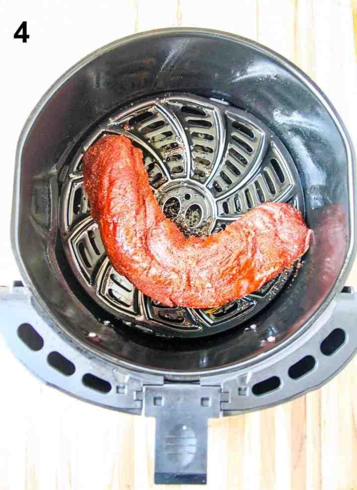 Pork Tenderloin in the air fryer basket