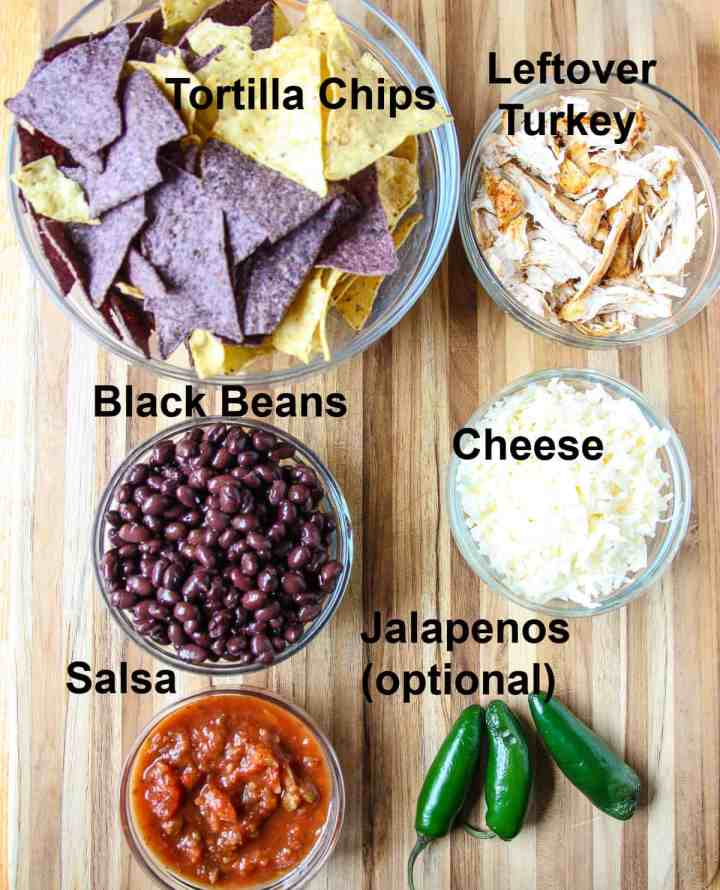 The Ingredients to make the nachos.