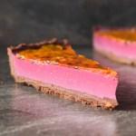 Blackberry Panna Cotta Tart with Passion Fruit