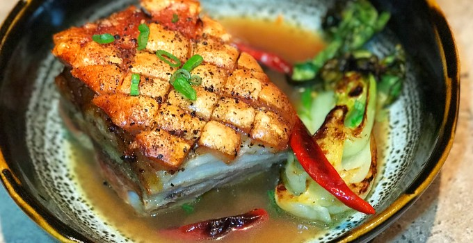 Crispy Pork Belly, Orange Soy braised