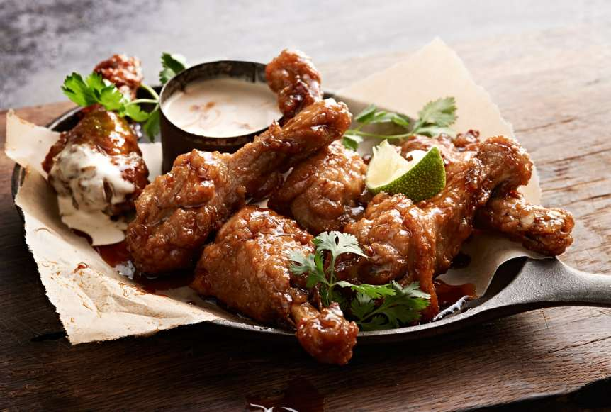 Ralph Smith Savory Food Beverage Photography, duck wings, sauce, food photography, cilantro, lime, commercial advertising