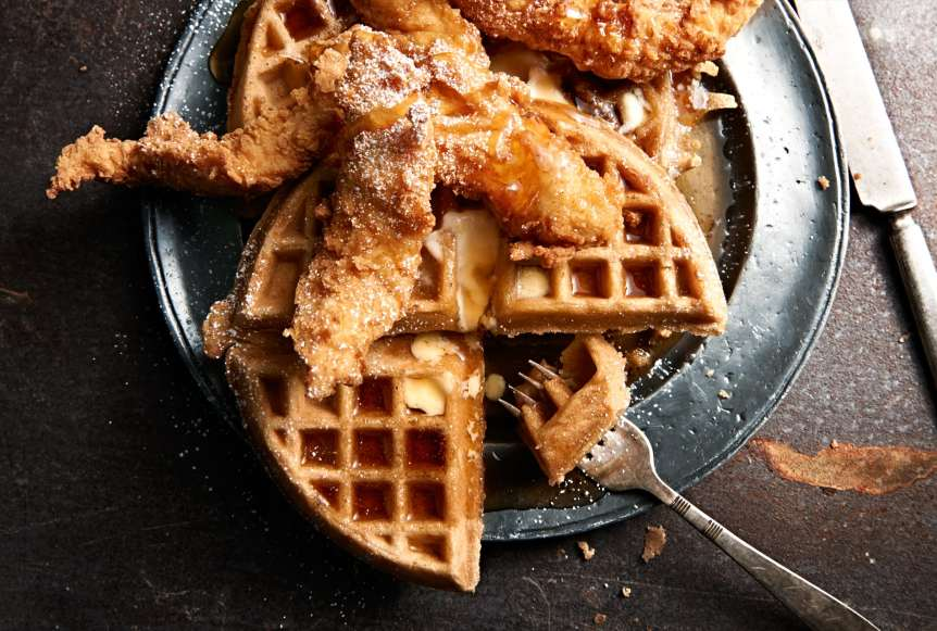Ralph Smith Savory Food Beverage Photography, waffles, chicken and waffles, syrup, powdered sugar, food photography, commercial advertising