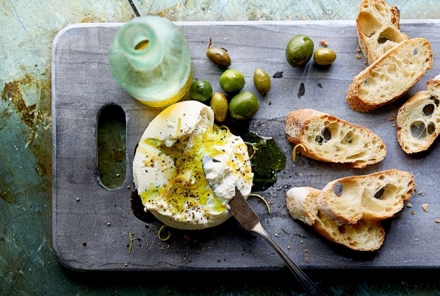 Ralph Smith Savory Food Beverage Photography, Burrata, Crostini, Olives, Beer, Cheese, Olive Oil, Toast, food photography